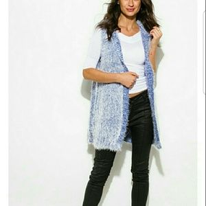 Sweaters - Soft Fuzzy Cardigan Vest - Black/White